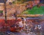 paul gauguin landscape with geese painting