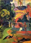 peacock artwork - landscape with peacocks by paul gauguin