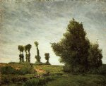 paul gauguin landscape with poplars painting