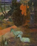 paul gauguin landscape with two goats painting
