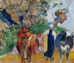 cow watercolor paintings - peasant woman and cows in a landscape by paul gauguin