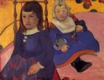 children watercolor paintings - portrait of two children by paul gauguin