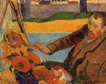 paul gauguin portrait of vincent van gogh painting sunflowers art