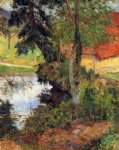 water original paintings - red roof by the water by paul gauguin