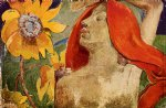 paul gauguin redheaded woman and sunflowers painting