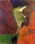 cow original paintings - seascape with cow on the edge of a cliff by paul gauguin