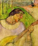 paul gauguin self portrait with mandolin painting-27416