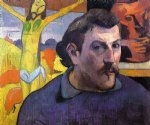 paul gauguin self portrait with yellow christ painting-27414