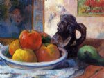paul gauguin still life with apples pear and ceramic portrait jug painting-27431
