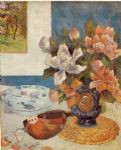 still life famous paintings - still life with chinese peonies and mandolin by paul gauguin