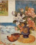 paul gauguin still life with chinese peonies and mandolin painting-27434