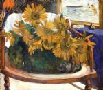 flowers original paintings - still life with sunflowers on an armchair by paul gauguin