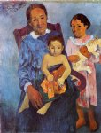 children watercolor paintings - tahitian woman and two children by paul gauguin