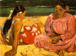 women acrylic paintings - tahitian women on the beach by paul gauguin