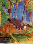 paul gauguin thatched hut under palm trees painting 27499