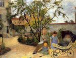 car watercolor paintings - the family in the garden rue carcel by paul gauguin