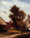 farm watercolor paintings - the tree in the farm yard by paul gauguin