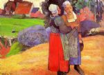 paul gauguin two breton peasants on the road painting