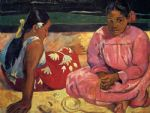 two women on beach by paul gauguin painting