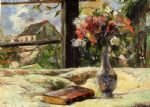 vase of flowers and window by paul gauguin painting