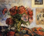 vase of peonies by paul gauguin painting
