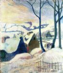 village in the snow by paul gauguin painting