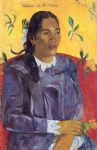 woman with a flower by paul gauguin painting