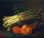 paul lacroix still life with asparagus and tomatoes painting