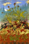 paul ranson original paintings - four decorative panels thistle and digitales by paul ranson