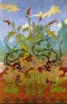 paul ranson original paintings - iris and large yellow and mauve flowers by paul ranson
