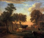 cows in a meadow by a farm by paulus potter painting