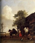paulus potter figures with horses by a stable painting