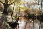 peder mork monsted famous paintings - a river landscape in springtime by peder mork monsted