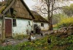 peder mork monsted famous paintings - bromolle farm with chickens by peder mork monsted