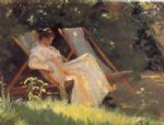 marie en el jardin reading by peder severin kroyer painting