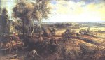 landscape acrylic paintings - an autumn landscape with a view of het steen by peter paul rubens