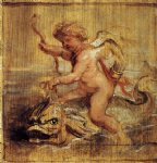 cupid riding a dolphin by peter paul rubens painting