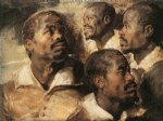peter paul rubens four studies of the head of a negro painting