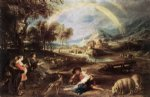 landscape acrylic paintings - landscape with a rainbow by peter paul rubens