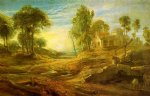 water oil paintings - landscape with a watering place by peter paul rubens