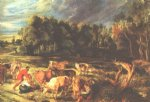 cow art - landscape with cows by peter paul rubens