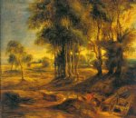 peter paul rubens landscape with the carriage at the sunset painting