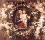floral prints - madonna in floral wreath by peter paul rubens