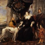 portrait watercolor paintings - portrait of lady arundel with her train by peter paul rubens