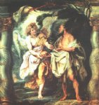 water oil paintings - the prophet elijah receiving bread and water from an angel by peter paul rubens