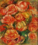 pierre auguste renoir art - a bowlful of roses by pierre auguste renoir