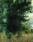 pierre auguste renoir art - a fence in the forest by pierre auguste renoir