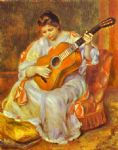 pierre auguste renoir a woman playing the guitar paintings