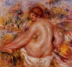 pierre auguste renoir art - after bathing seated female nude by pierre auguste renoir