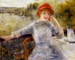 alphonsine fournaise on the isle of chatou by pierre auguste renoir painting